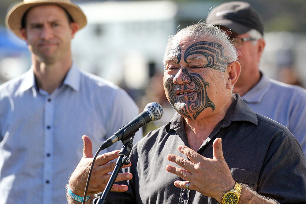 Kaumatua Adrian Noda at the official opening of the 2021 Helensville Show