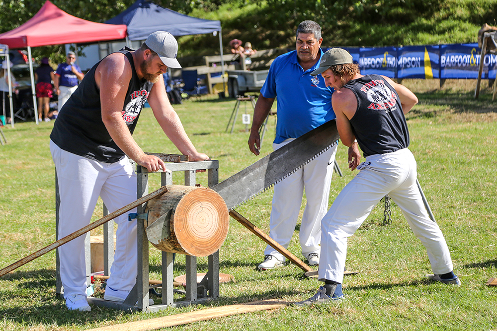 In the wood chopping ring at the 2021 Helensville Show