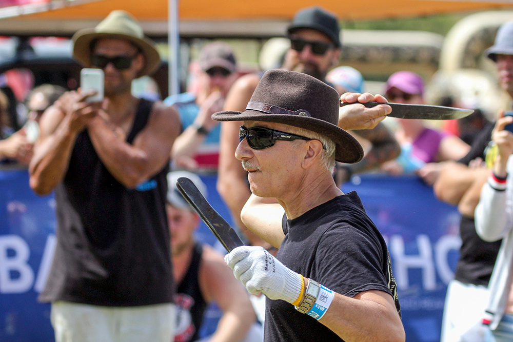 Champion Russian knife and axe thrower Vadim Zveryanskiy in action at the 2021 Helensville Show